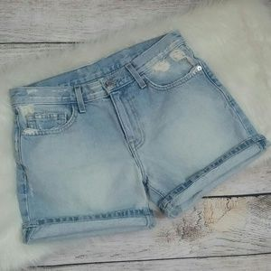 Current/Elliott Distressed Boyfriend Rolled Shorts
